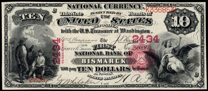 First National Bank, Bismarck National Currency dollar bill