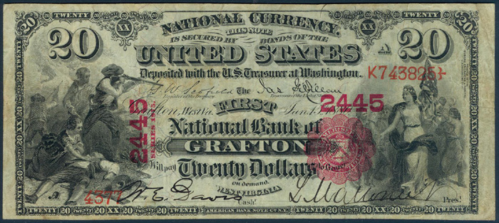 First National Bank of Grafton National Currency dollar bill