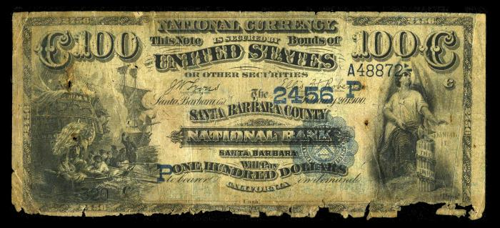 County National Bank and Trust Company of Santa Barbara (2456) Hundred Dollar Bill Series 1882 Dateback and Valueback
