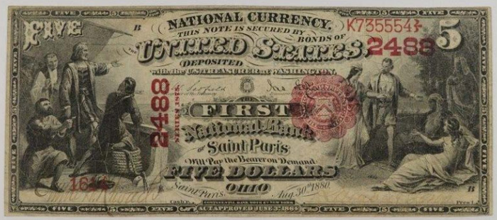 First National Bank of Saint Paris (2488) Five Dollar Bill Series 1875