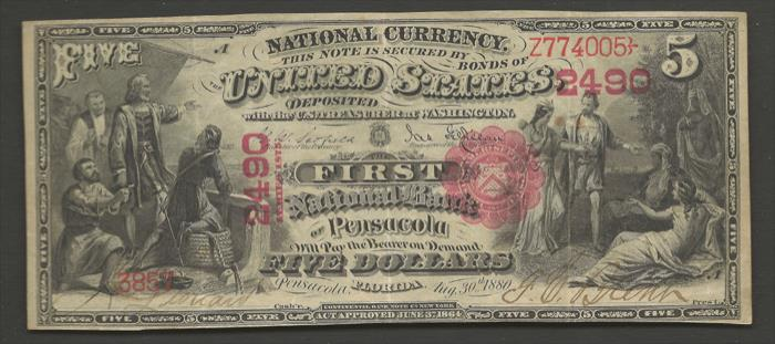 First National Bank of Pensacola (2490) Five Dollar Bill Series 1875