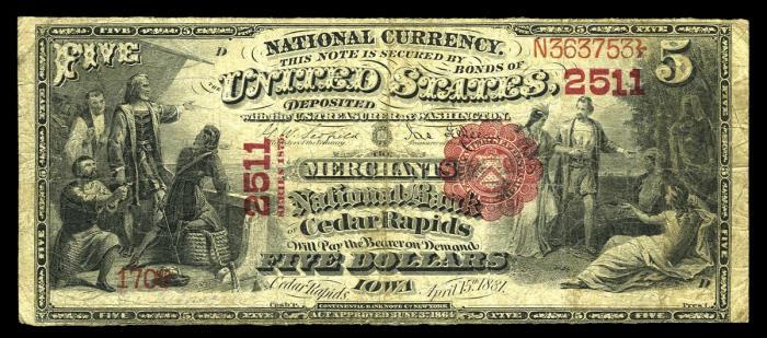 Merchants National Bank of Cedar Rapids National Currency dollar bill