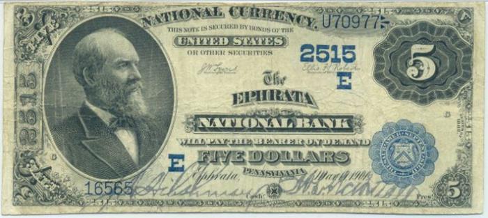 Ephrata National Bank, Ephrata National Currency dollar bill