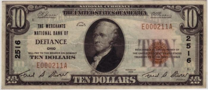 Merchants National Bank of Defiance National Currency dollar bill