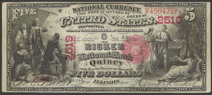Ricker National Bank of Quincy National Currency dollar bill