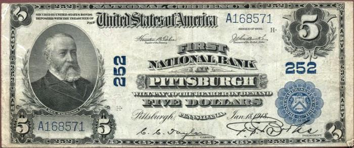 Second National Bank of Pittsburgh National Currency dollar bill