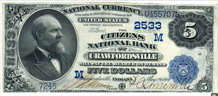 Citizens National Bank of Crawfordsville National Currency dollar bill