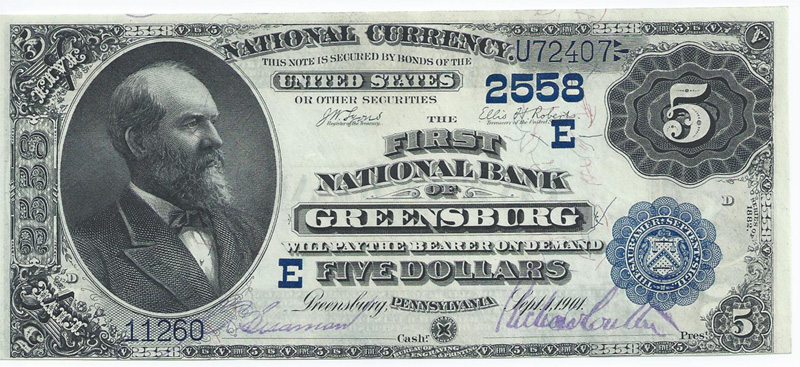 First National Bank of Greensburg National Currency dollar bill