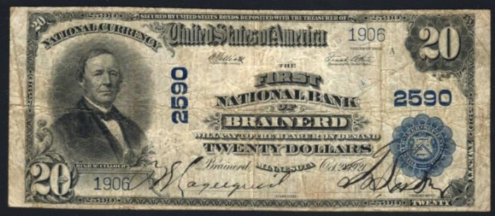 First National Bank, Brainerd National Currency dollar bill