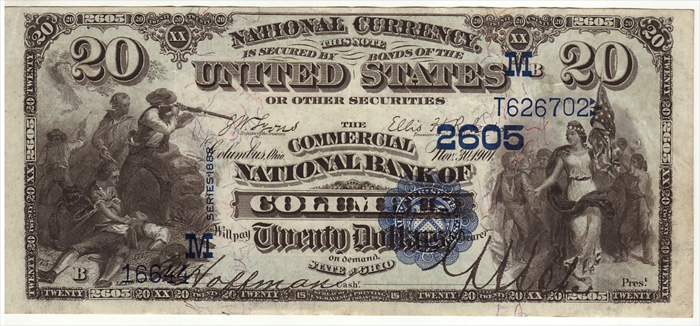 Commercial National Bank of Columbus National Currency dollar bill
