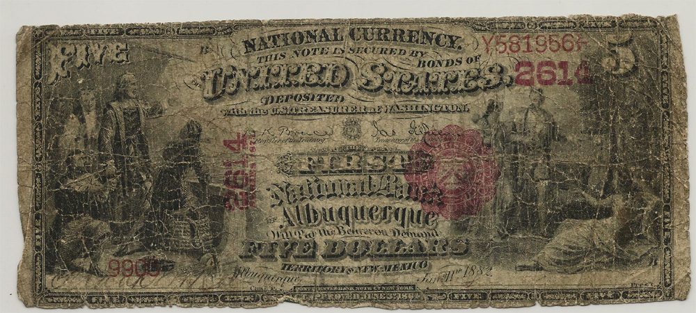 First National Bank of Albuquerque (2614) Five Dollar Bill Series 1875