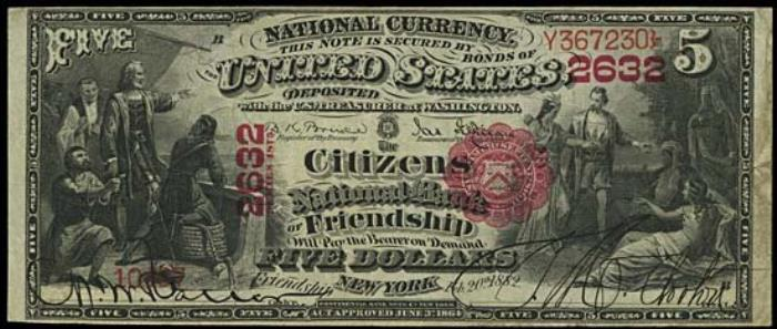 Citizens National Bank of Friendship National Currency dollar bill