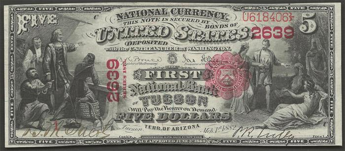 First National Bank of Tucson National Currency dollar bill