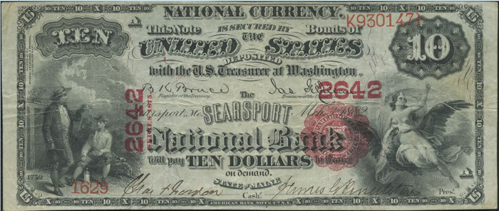 Searsport National Bank, Searsport National Currency dollar bill