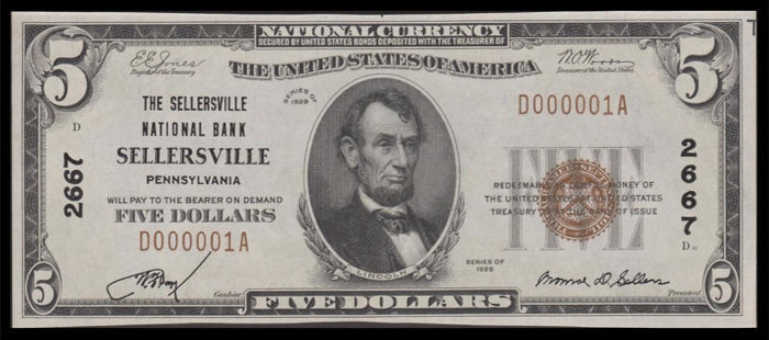 Sellersville National Bank, Sellersville National Currency dollar bill
