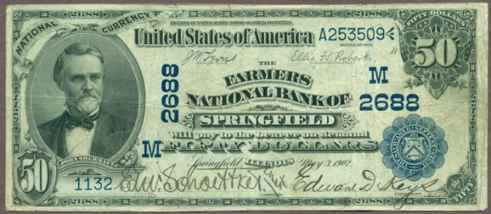 Farmers National Bank of Springfield (2688) Fifty Dollar Bill Series 1902 Blue Seal