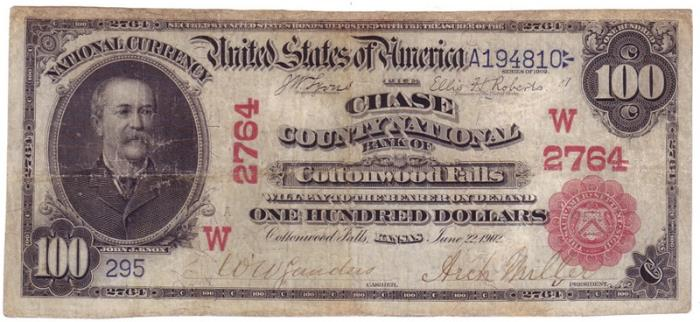Chase County National Bank of Cottonwood Falls (2764) Hundred Dollar Bill Series 1902 Red Seal