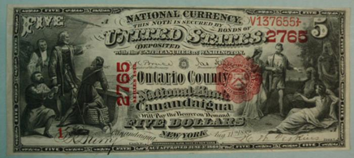 Ontario County National Bank of Canandaigua National Currency dollar bill