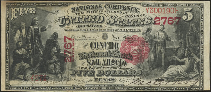 Concho National Bank of San Angelo National Currency dollar bill