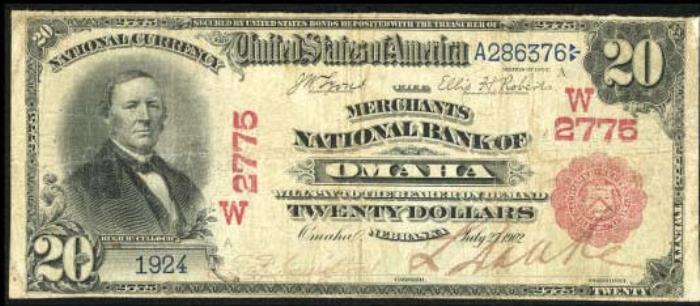 Merchants National Bank of Omaha National Currency dollar bill
