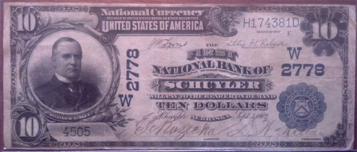 First National Bank, Schuyler National Currency dollar bill