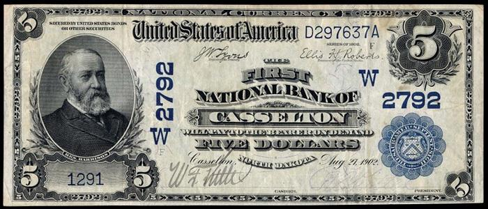 First National Bank, Casselton National Currency dollar bill