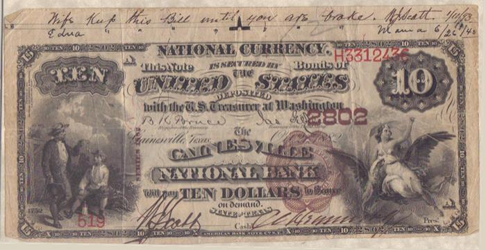 Gainesville National Bank, Gainesville (2802) Ten Dollar Bill Series 1882 Brownback