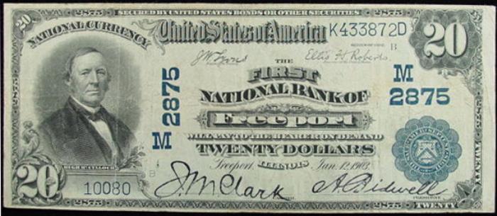 Freeport National Bank, Freeport National Currency dollar bill