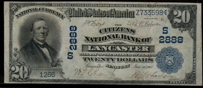 Citizens National Bank of Lancaster National Currency dollar bill