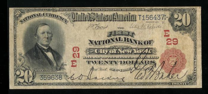 First National Bank of The City of NY National Currency dollar bill