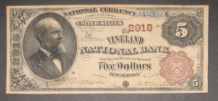 Vineland National Bank, Vineland National Currency dollar bill