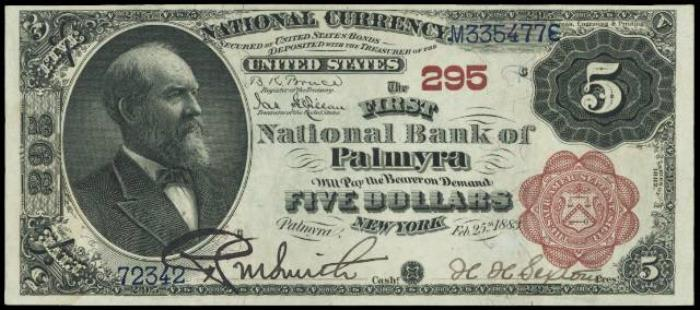First National Bank of Palmyra National Currency dollar bill