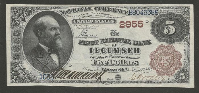 First National Bank, Tecumseh National Currency dollar bill
