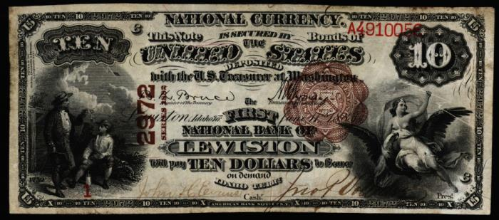 First National Bank of Lewiston (2972) Ten Dollar Bill Series 1882 Brownback