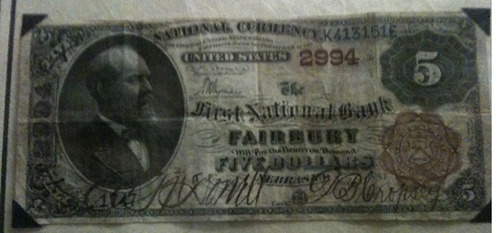 First National Bank of Fairbury National Currency dollar bill