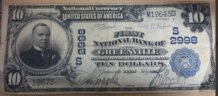 First National Bank of Greenville National Currency dollar bill