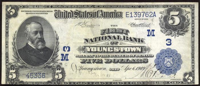 First National Bank of Youngstown National Currency dollar bill