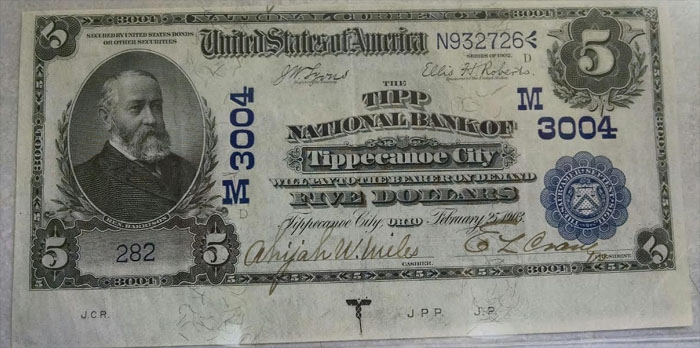 Tipp National Bank of Tippecanoe City National Currency dollar bill