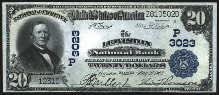 Lewiston National Bank, Lewiston National Currency dollar bill