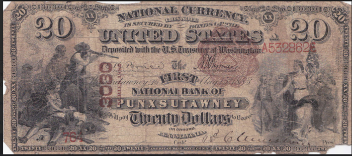 First National Bank of Punxsutawney National Currency dollar bill