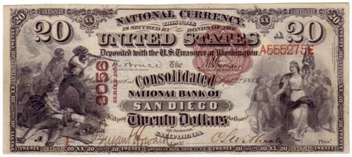 Consolidated National Bank of San Diego National Currency dollar bill