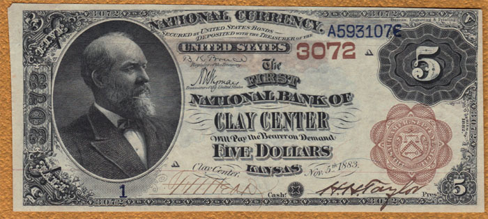 First National Bank of Clay Center National Currency dollar bill