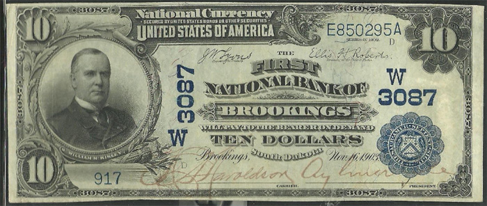 First National Bank of Brookings National Currency dollar bill