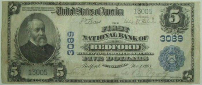 First National Bank of Bedford National Currency dollar bill