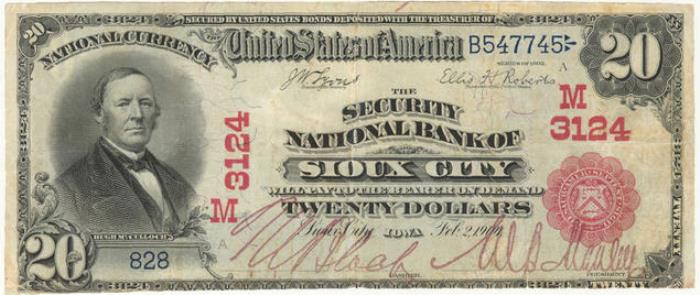 Security National Bank, Sioux City National Currency dollar bill
