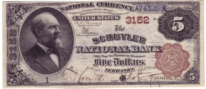 Schuyler National Bank, Schuyler National Currency dollar bill