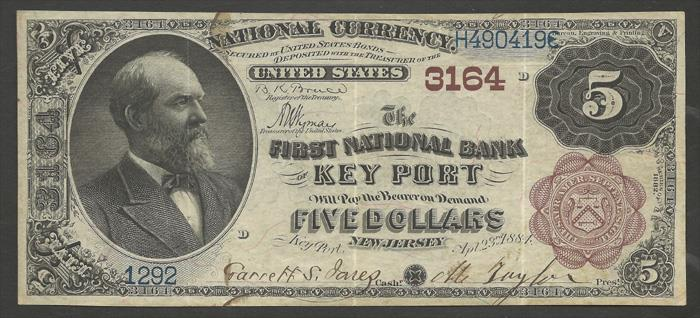 First National Bank of Key Port National Currency dollar bill