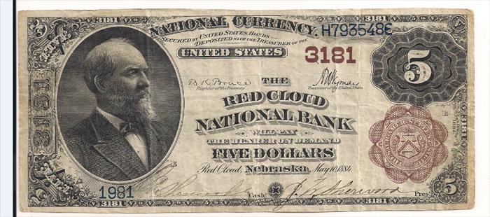 Red Cloud National Bank, Red Cloud National Currency dollar bill