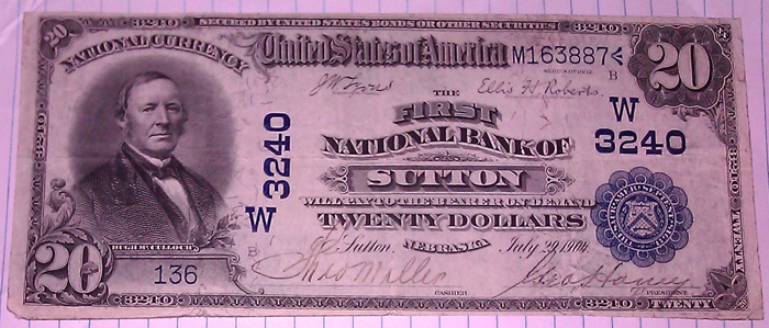 First National Bank, Sutton National Currency dollar bill
