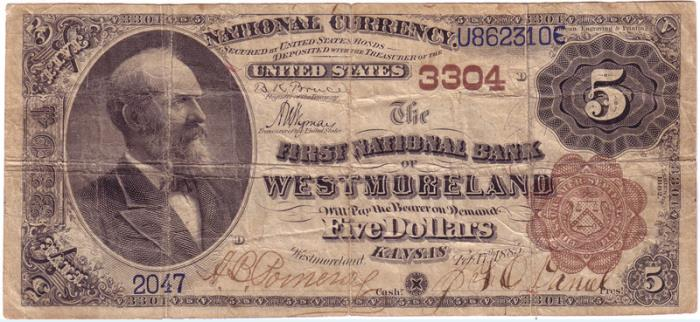 First National Bank of Westmoreland National Currency dollar bill